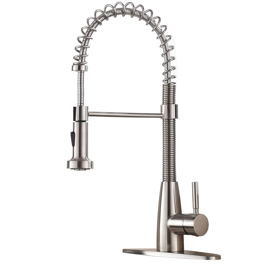 VESLA HOME Commercial Single Handle Pull Down Out Sprayer Spring Stainless Steel Kitchen Faucet, Brushed Nickel Kitchen Sink Faucet