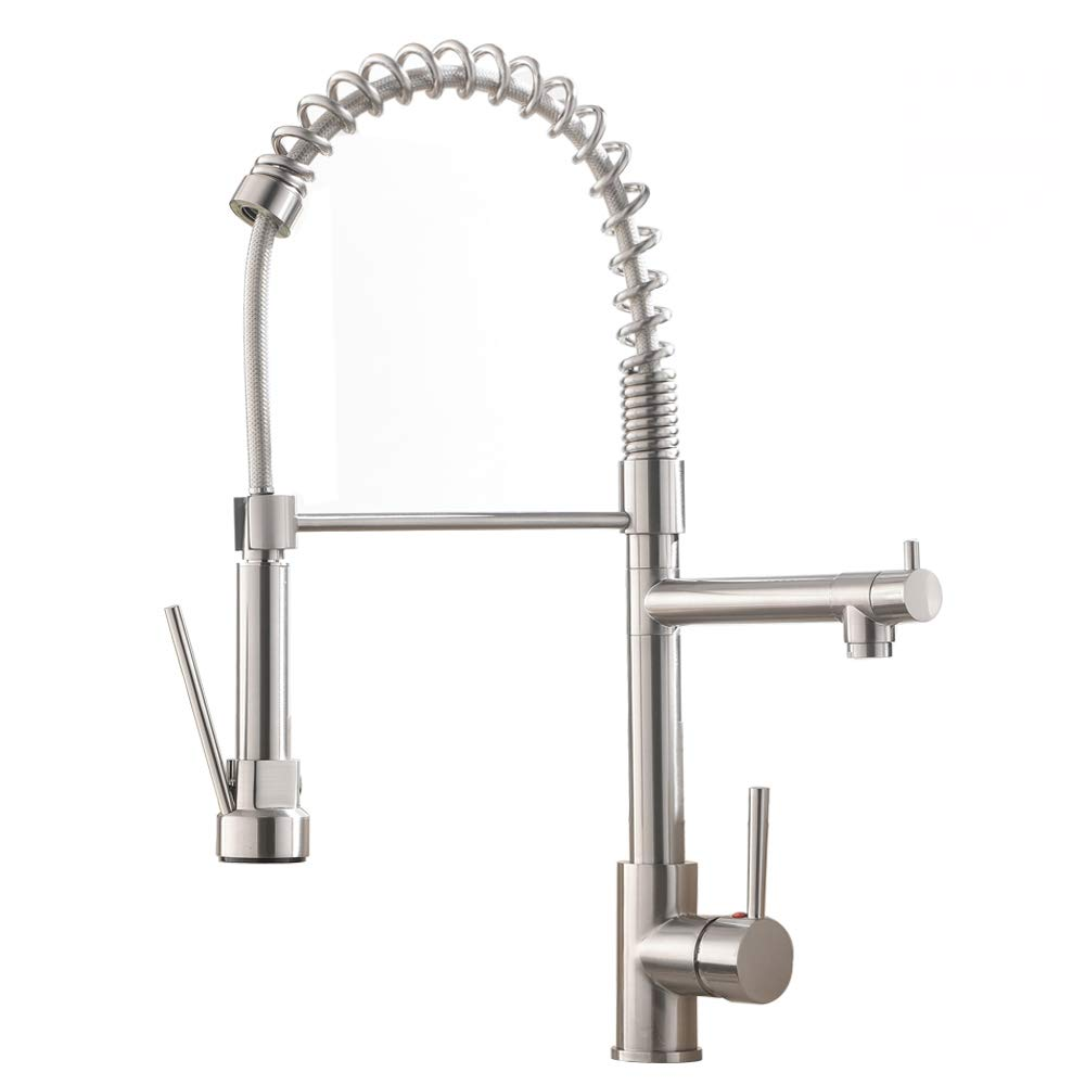 VESLA HOME Commercial High Arch Single Handle Single Hole Stainless Steel Pull Down Sprayer Brushed Nickel Kitchen Faucets, Two Spout Sprayer Kitchen Sink Faucet