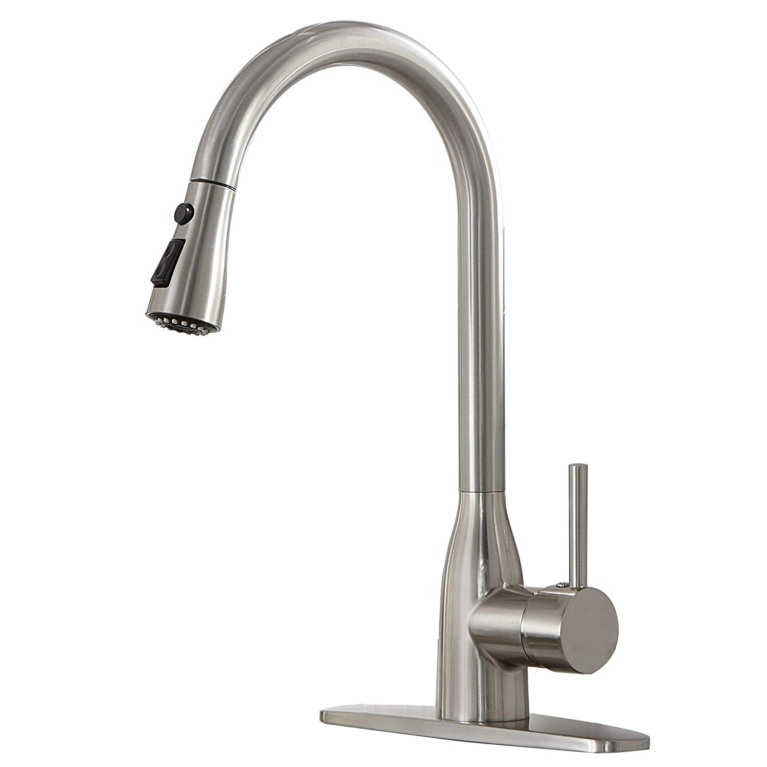 VESLA HOME Single Handle High Arc Stainless Steel Single Handle Brushed Nickel Pull Down Sprayer Kitchen Sink Faucet, Kitchen Faucets with Deck Plate