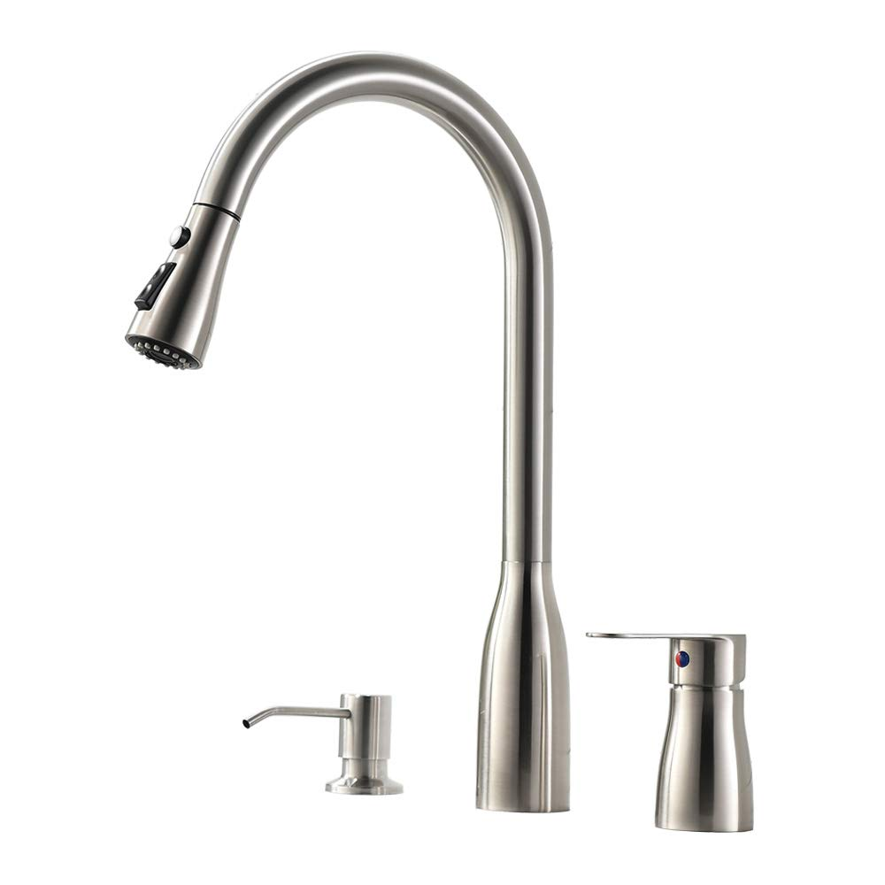 Vesla Home 3 Hole Kitchen Sink Faucet with Pull Down Sprayer Soap Dispenser Stainless Steel Single Handle Kitchen Faucet, Brushed Nickel
