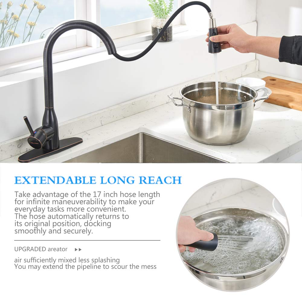 VESLA HOME Commercial Brass Single Handle Pull Out Sprayer Lead-Free Oil Rubbed Bronze Kitchen Faucet, Kitchen Sink Faucets with Deck Plate