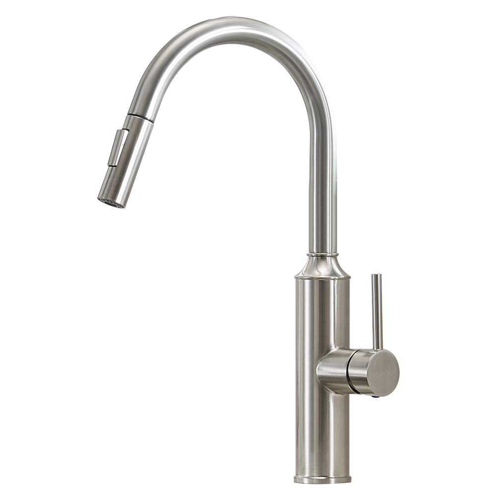 VESLA HOME Commercial Lead Free Single-Handle Stainless Steel High Arch Pull Down Sprayer Kitchen Sink Faucet, Kitchen Faucets Brushed Nickel