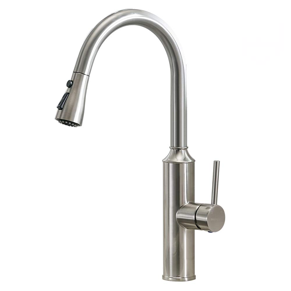 VESLA HOME Commercial Lead Free Stainless Steel Single Handle Pull Down Out Sprayer Kitchen Faucets, Kitchen Sink Faucet Brushed Nickel