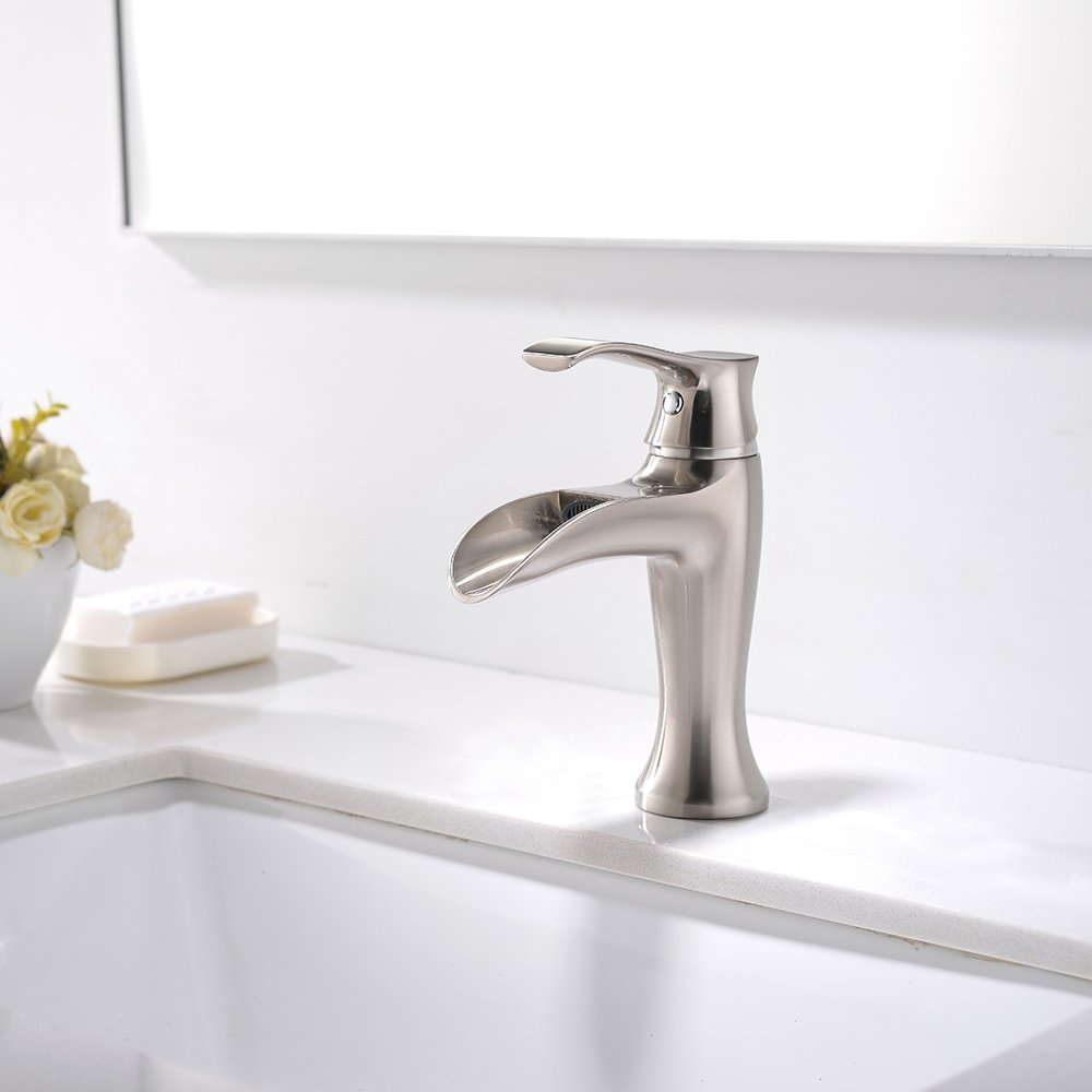 VESLA HOME Single Handle Vessel One Hole Waterfall Brushed Nickel BathroomSink Faucets, Bathroom Sink Faucet Without Pop Up Drain