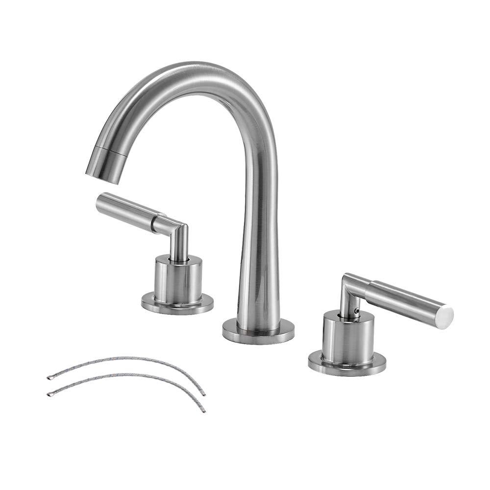 3-Hole 2-Handles Low-Arch Widespread Bathroom Faucet, Brushed Nickle Bathroom Sink Faucet by Vesla