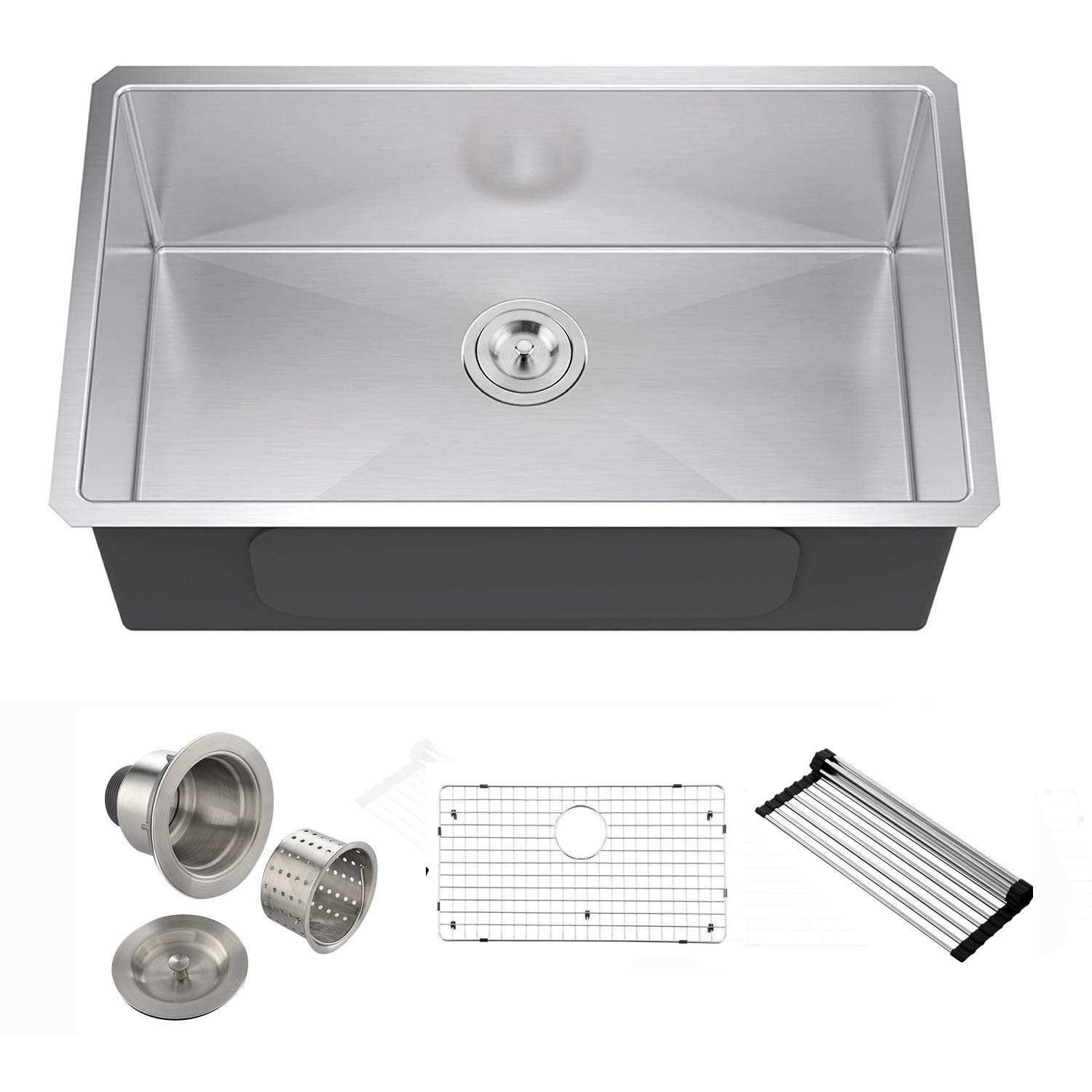 VESLA HOME 30-inch 18 Gauge Undermount Single Bowl 304 Stainless Steel Kitchen Sink, Undermount Sink with Drain