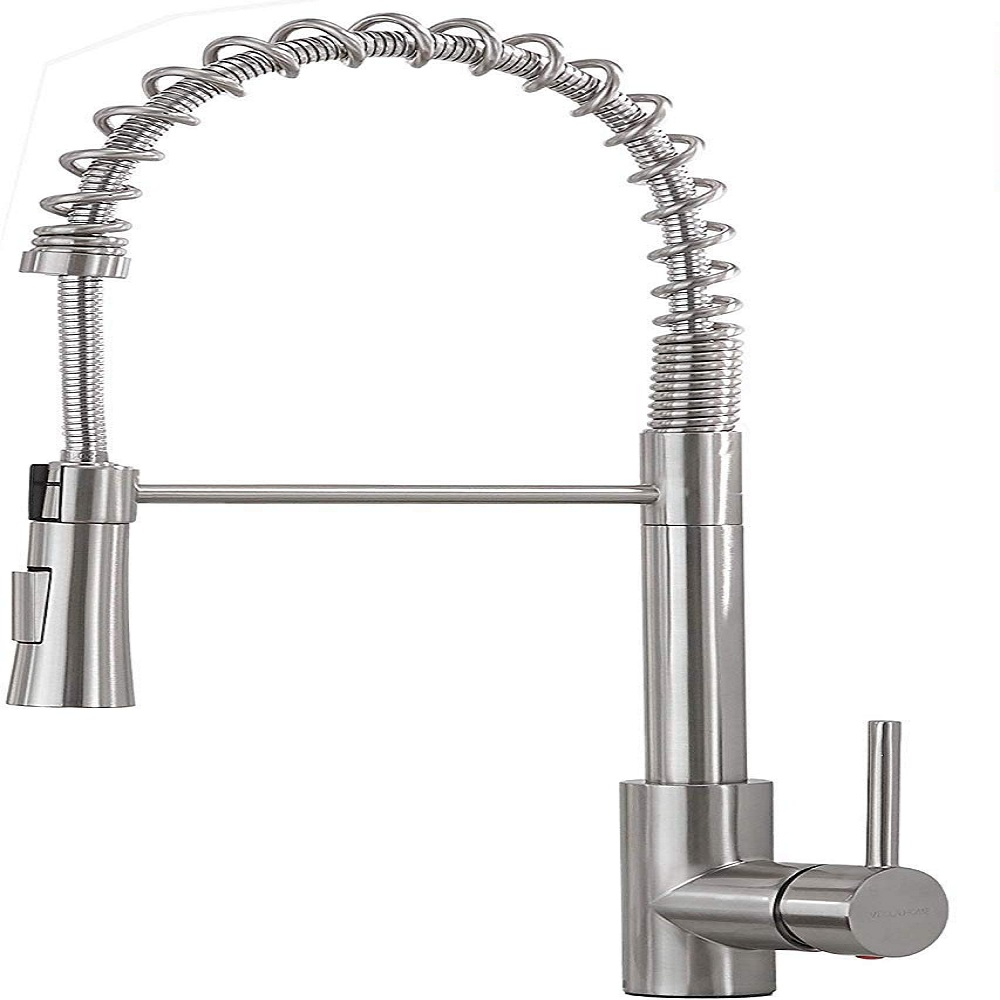 VESLA HOME Lead Free Stainless Steel Single Lever Handle Brushed Nickel Pull Down Sprayer Spring Kitchen Faucet, Kitchen Sink Faucet With Deck Plate VEQYT198L-1