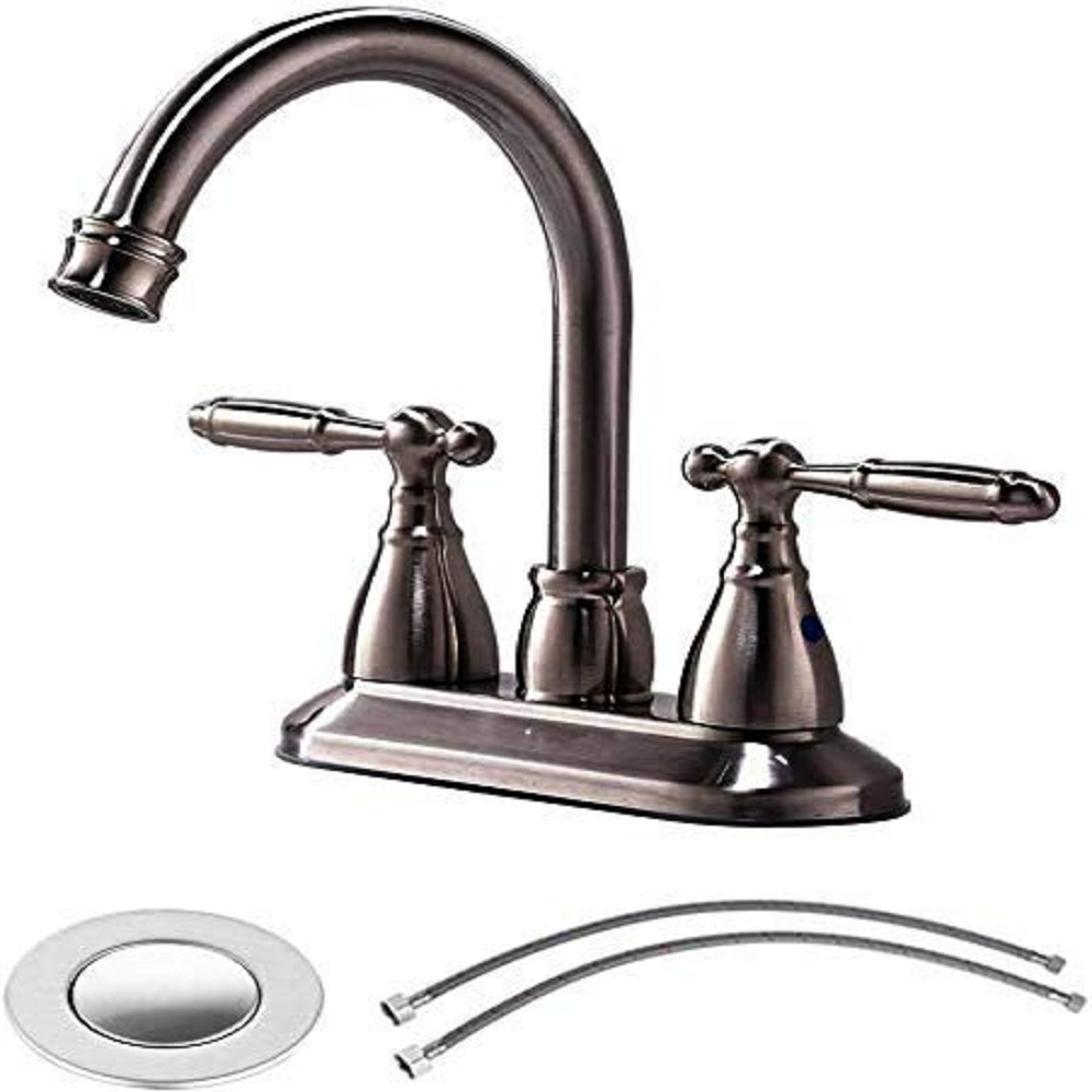 VESLA HOME Modern Stainless Steel Two Handle Bathroom Faucet, Brushed Nickel Bathroom Vanity Sink Faucet without Drain