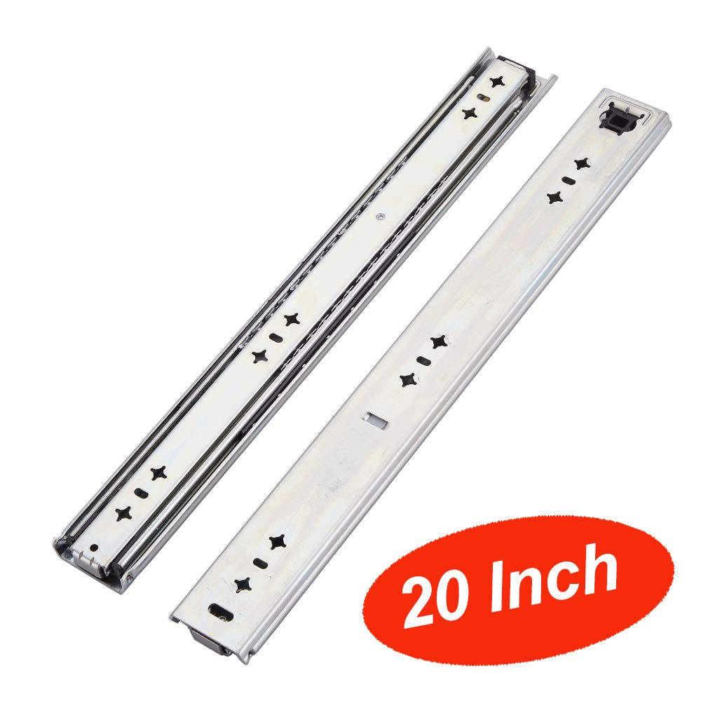 VESLA HOME 250 LB Soft Close Hardware Ball Bearing Side Mount Full Extension Drawer Slides, 1 Pair 20 Inches Length 3 Inches Wide, Heavy Duty Slides